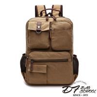 DF BAGSCHOOL ~ 遨遊世界皮飾帆布款大容量後背包~共3色