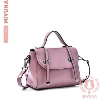 【MIYUNA】Eunice輕巧時尚磁釦牛皮斜背包-魅力黑