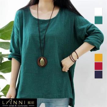 【LANNI 藍尼】文藝設計棉麻素色上衣(新品熱銷款)