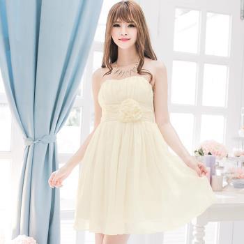桃心領雪紡飾花朵小禮服洋裝A2031-01(沁涼杏)lingling
