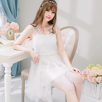布蕾絲珠紗背心小禮服洋裝A2097-02(愛戀白)lingling