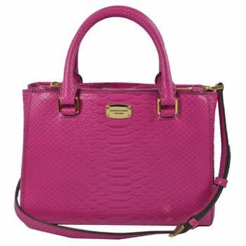 MICHAEL KORS 經典LOGO鱷魚紋皮革手提兩用包.紫紅