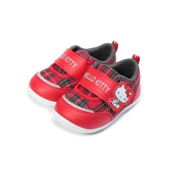 HELLO KITTY 英倫格紋魔鬼氈布鞋 紅 小童鞋 鞋全家福