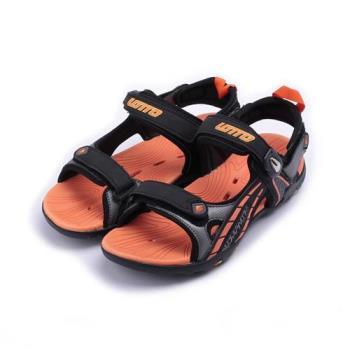 LOTTO 磁扣運動涼鞋 黑橘 LT6AKS3203 大童鞋 鞋全家福