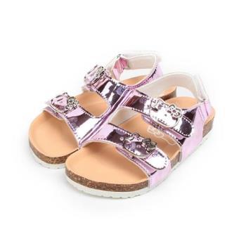HELLO KITTY 金屬漆皮腳床涼鞋 粉 中大童鞋 鞋全家福