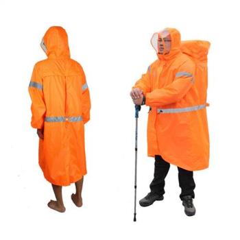 PUSH!戶外休閒用品雨衣登山雨衣背包雨衣連體雨衣P104橘色S