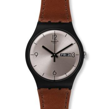 Swatch   品味紳士皮革石英腕錶   SUOB721