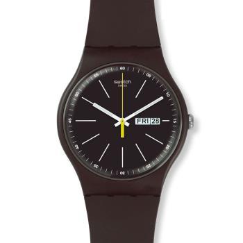 Swatch  深棕時尚夜光石英腕錶   SUOC704