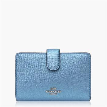 COACH 攜帶便利 十字紋皮革 / 零錢收納 / 女用短夾_金屬藍