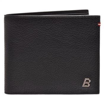 BALLY 經典BALIKY系列金屬浮雕B LOGO防刮牛皮條紋對折短夾(黑-10卡)