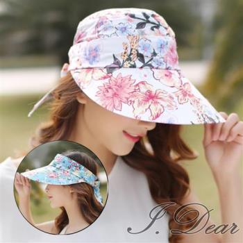 【I.Dear】韓國夏日甜美彩花卉可拆卸帽頂遮陽空頂帽(4色)現貨