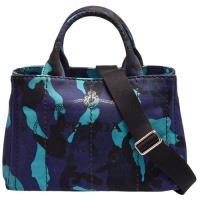 PRADA CANAPA銀色三角LOGO帆布縫線迷彩造型背帶手提/斜背包(藍)