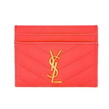 YSL MONOGRAM系列V字縫線魚子醬牛皮金屬LOGO萬用票卡/證件名片夾(蜜桃粉)