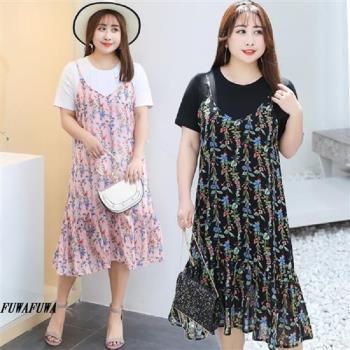 現貨+預購 FUWAFUWA-加大尺碼雪紡吊帶裙+T恤兩件式短袖洋裝