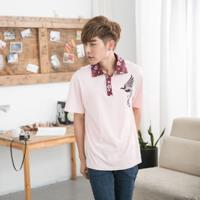 Jimmy Wang 男生中國風鳳凰粉色POLO衫