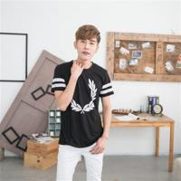 Jimmy Wang男生黑色PUNK 8雙面印花短袖T恤