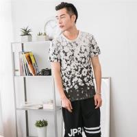 Jimmy Wang 男生灰色花漾短袖T恤