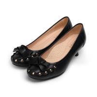 SARAH PRINCESS 真皮蝴蝶鉚釘高跟鞋 黑 女鞋 鞋全家福