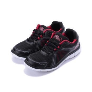 FILA 透氣索帶輕量跑鞋 黑紅 1-J320S-042 男鞋