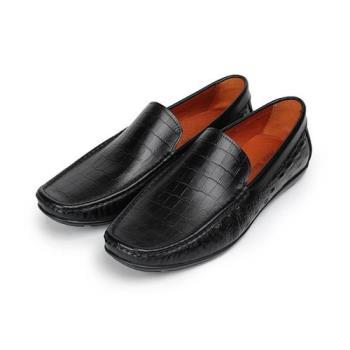 Jason House 鱷魚壓紋套式休閒皮鞋 黑 男鞋 鞋全家福