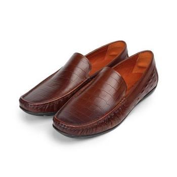Jason House 鱷魚壓紋套式休閒皮鞋 棕 男鞋 鞋全家福