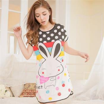 點點雙面兔子印花短袖連身裙睡衣(經典黑)全尺碼lingling日系