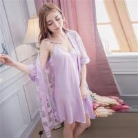 lingling日系 細肩帶睡裙+蕾絲花網罩衫睡袍二件式睡衣組 (全尺碼)