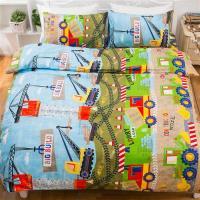 kokomos扣扣馬 鎮瀾宮大甲媽授權精梳棉205織紗單人床包雙人被套三件組-卡車噗噗
