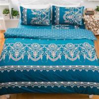 kokomos扣扣馬 鎮瀾宮大甲媽授權精梳棉205織紗單人床包雙人被套三件組-浪漫法國-藍