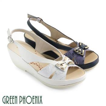 GREEN PHOENIX 立體金屬蝴蝶結光澤絲線全真皮楔型涼鞋U27-20331