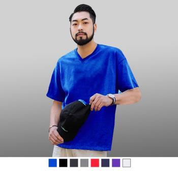 男人幫-V領子加厚不變型厚款素色V領T恤