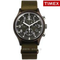 TIMEX 天美時 / TXTW2R67800 / 美國品牌 INDIGLO專利冷光照明 三眼計時 日期 帆布手錶 橄欖綠色 40mm
