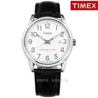 TIMEX 天美時 / TXTW2R64900 / 美國第一品牌 專利冷光照明 數字時標 日期 壓紋真皮手錶 白x黑 38mm