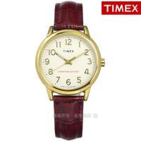 TIMEX 天美時 / TXTW2R65400 / 美國第一品牌 專利冷光照明 數字時標 真皮手錶 米x金框x咖啡紅 30mm