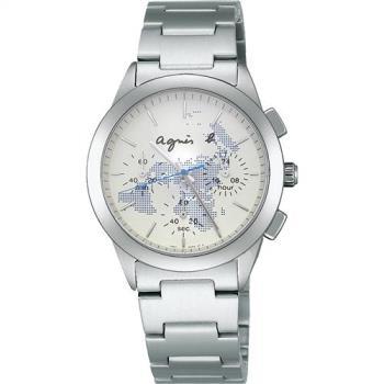 agnes b. 全球旅行世界地圖三眼計時中性錶-藍 BWY059P1