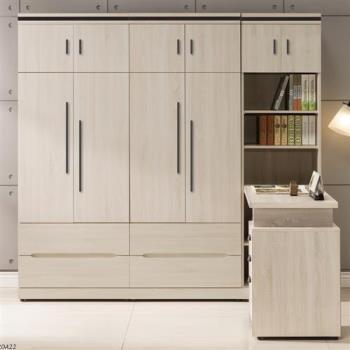 【日本直人木業】COCO簡約220CM被櫥高衣櫃加調整書桌