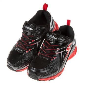 《布布童鞋》Moonstar日本黑色閃電防水兒童機能運動鞋(17~24公分)I8K266D