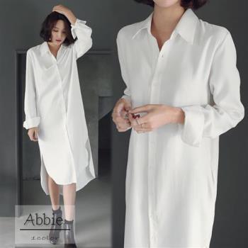 【Abbie】韓版寬鬆長版翻領襯衫-,
