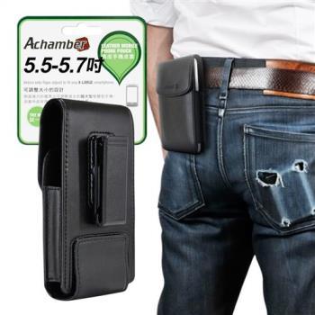 Achamber 個性型男真皮旋轉腰夾直立腰掛皮套 for 紅米Note 5/ 華為 P20 /P20 Pro