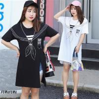 現貨+預購 FUWAFUWA- 加大尺碼海軍風印花短袖T恤