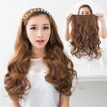 【米蘭精品】長假髮假髮片-一片式仿真直髮捲髮女假髮5色73rr37