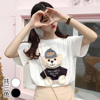 韓國KW  XL~2XL  可愛玩具熊貼布寬鬆上衣