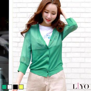 LIYO理優 圓領短袖印花寬鬆T恤透膚雪紡拼接針織V領薄外套2件組