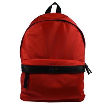 MICHAEL KORS 經典浮雕LOGO尼龍皮飾邊後背包.紅