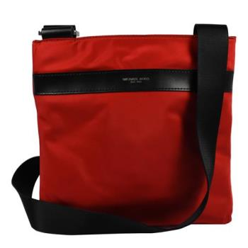 MICHAEL KORS 經典LOGO烙印素面尼龍皮飾邊斜背包.紅