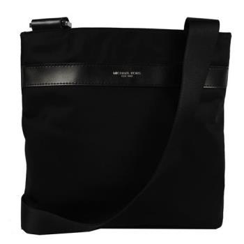 MICHAEL KORS 經典LOGO烙印素面尼龍皮飾邊斜背包.黑