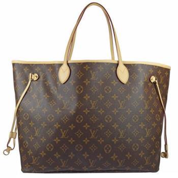 Louis Vuitton LV M41180 NEVERFULL GM 經典花紋子母束口購物包.桃紅