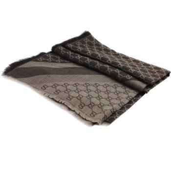 GUCCI 281942 經典雙G緹花LOGO羊毛絲綢披肩圍巾.深咖
