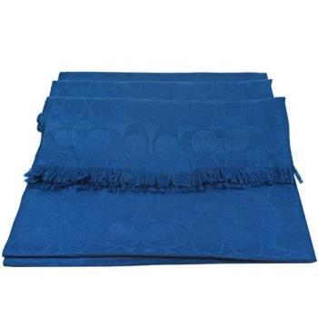 COACH 86011 經典LOGO圖案羊毛絲質披肩長圍巾.藍