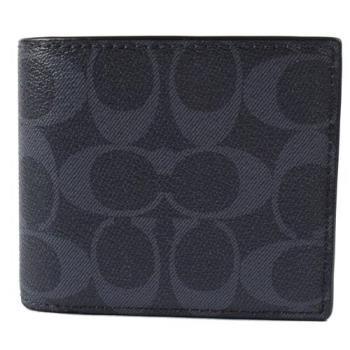 COACH 74993 經典LOGO PVC附活動卡中短夾.深灰
